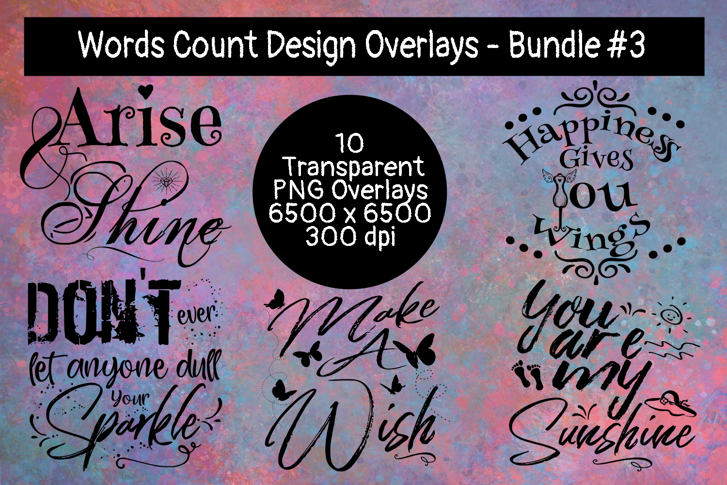 Words Count Design Overlays Bundle #3 example image 1