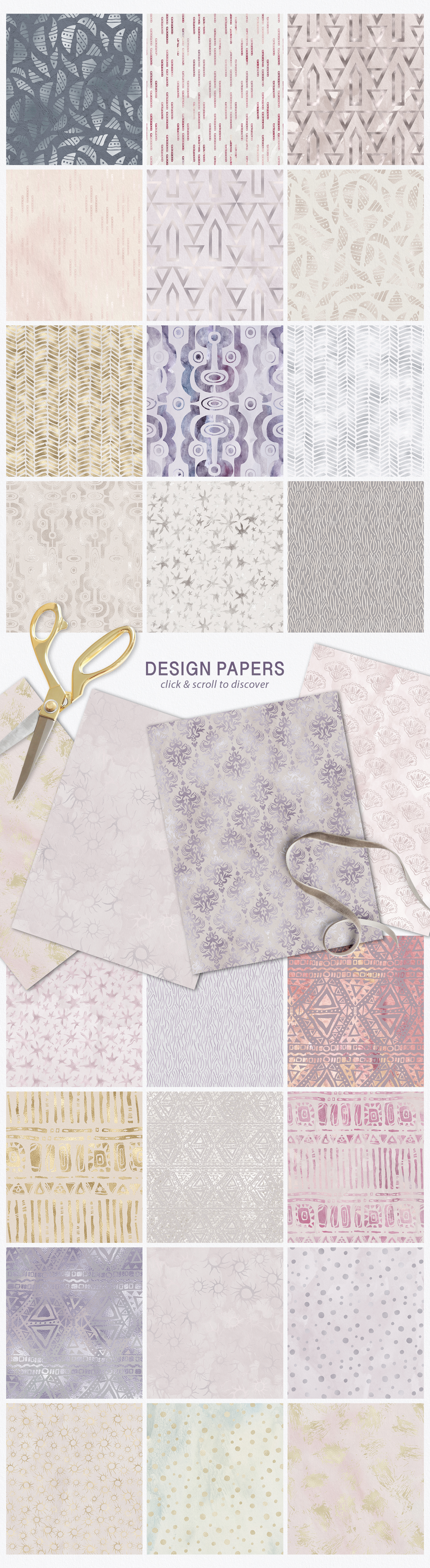 Seamless Textures & Patterns Bundle - Shabby Chic Design Kit example image 9