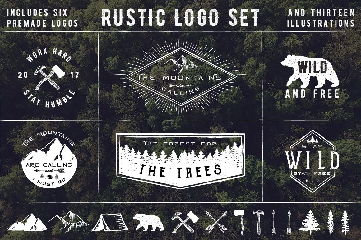 Rustic Logos & Illustrations vol. 1 AI PNG example image 5