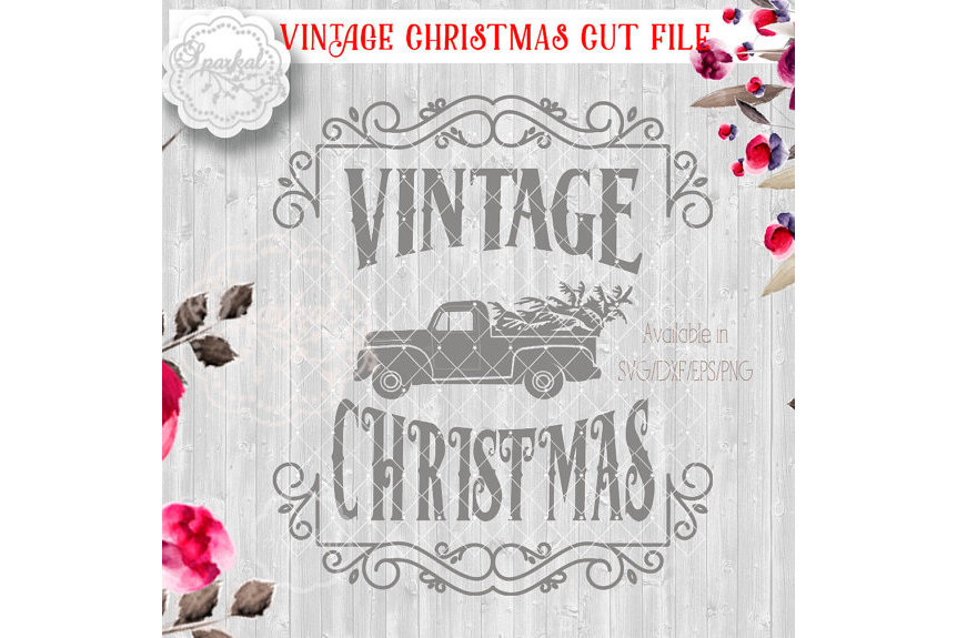 Vintage Rustic Christmas SVG File, Cutting File, Ford Pickup truck Vector Clipart Holiday Decor, Silhouette Cutting file design example image 3