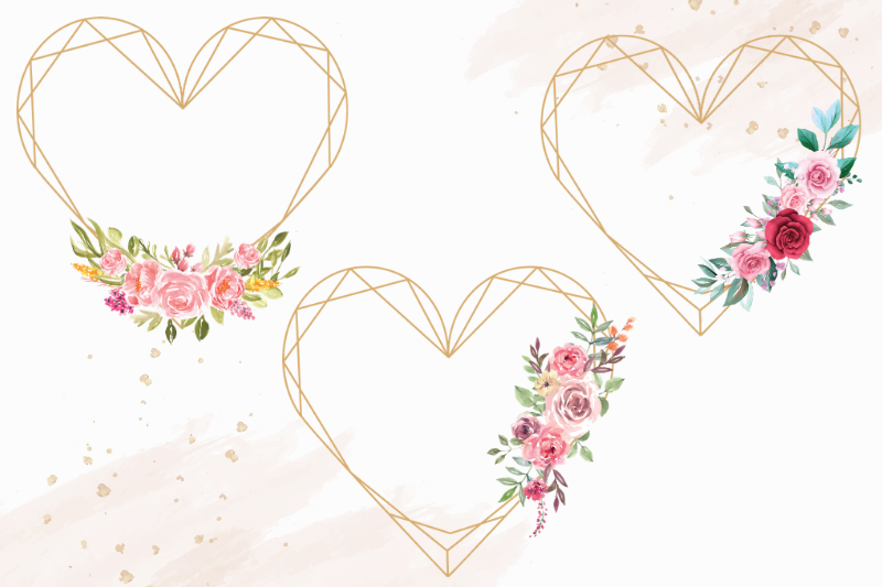 Heart Shaped Watercolor Flowers Frames, Geometric Gold Frame example image 2