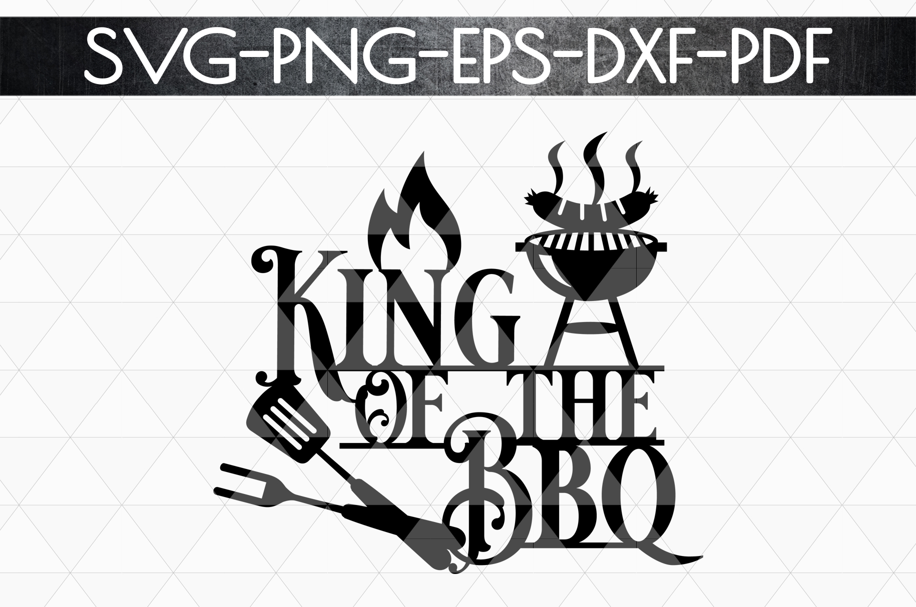 King Of The Bbq Sign Papercut Template, Summer Decor SVG DXF example image 3