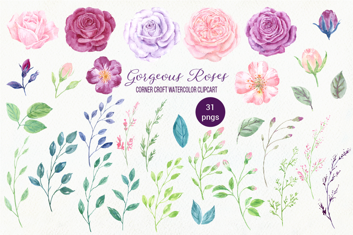 Watercolor Clip Art Gorgeous Roses example image 4