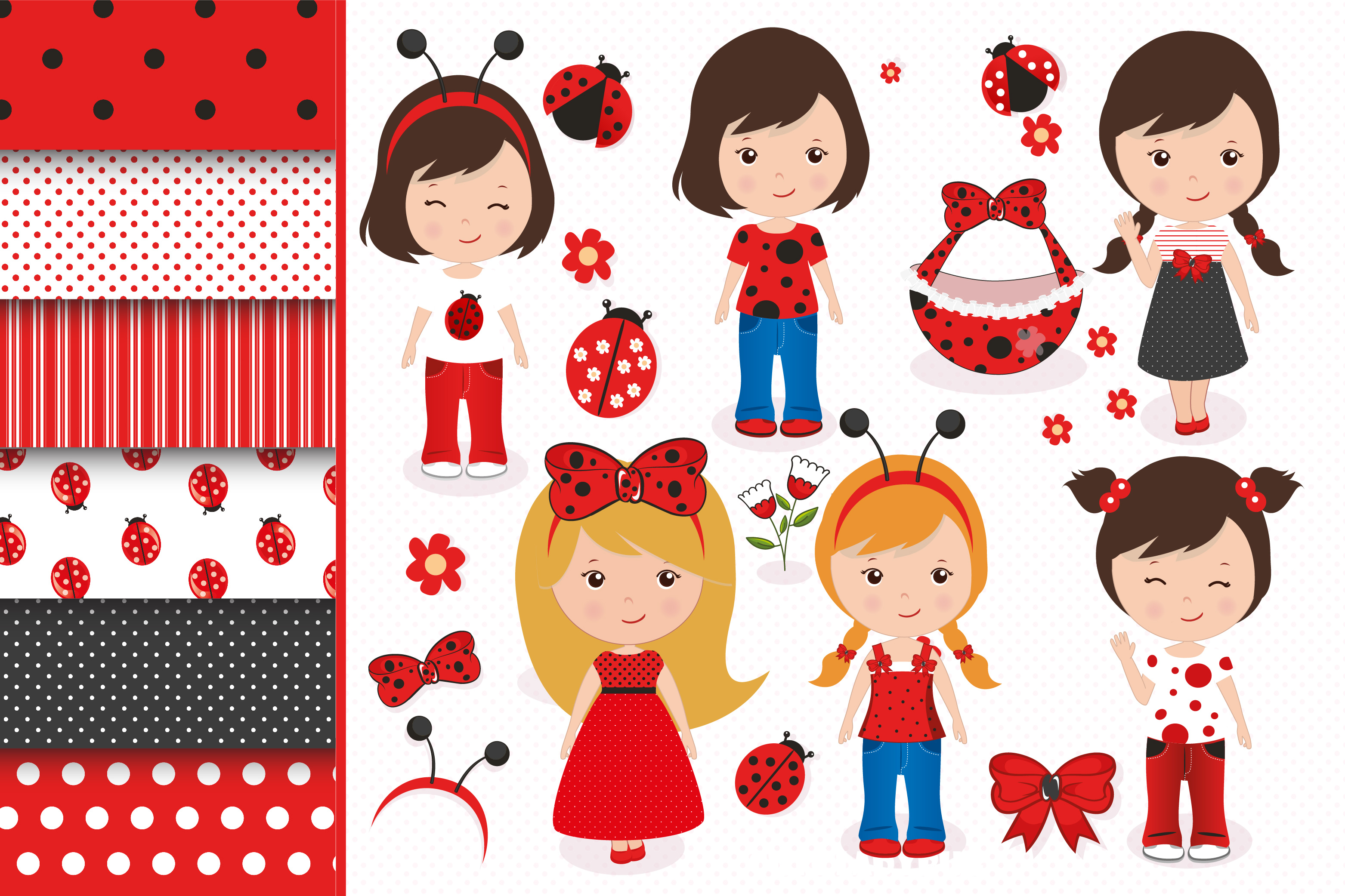 Ladybug graphics, Ladybug clipart set example image 1