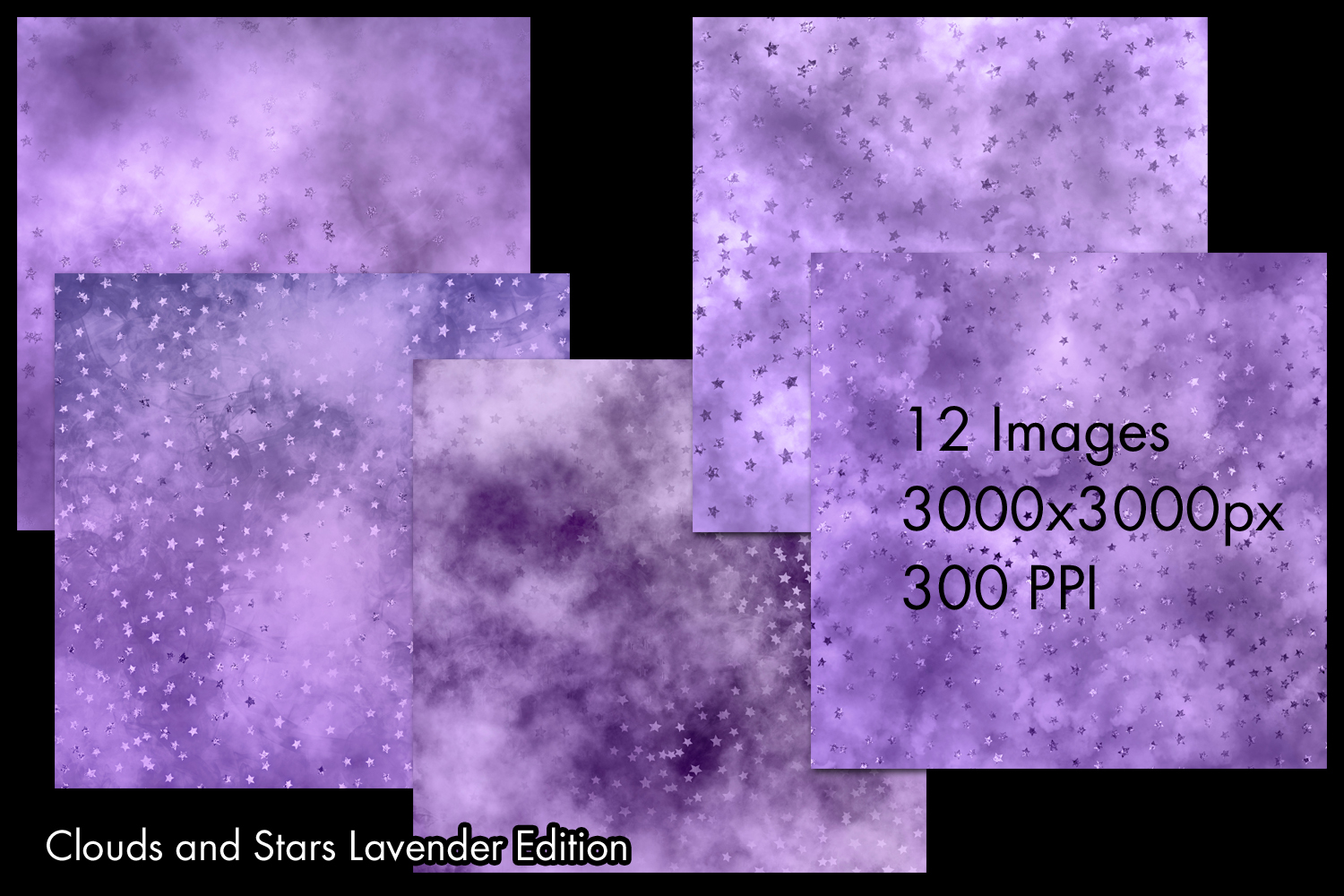 Clouds and Stars Lavender Edition Backgrounds - 12 Images example image 2
