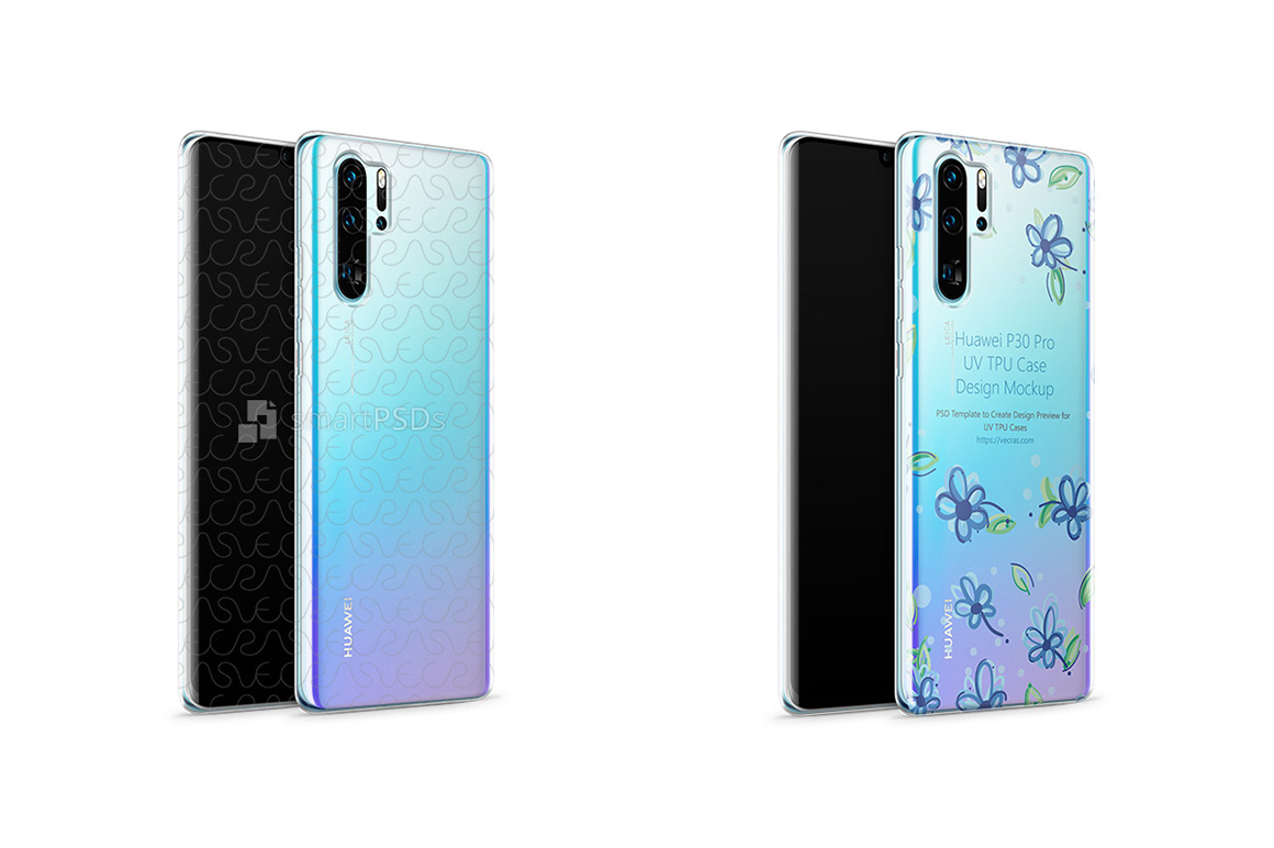 Huawei P30 Pro UV TPU Clear Case Mockup 2019 Front-Back Angl example image 1