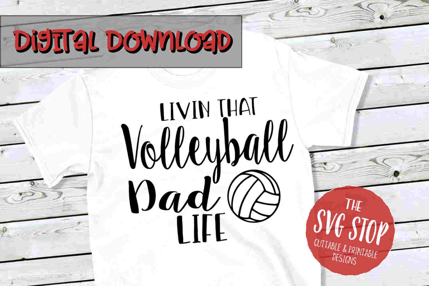Volleyball Dad Life -SVG, PNG, DXF example image 1