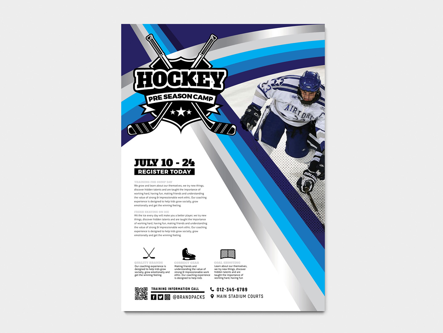 A4 Hockey Club Poster Templates example image 5