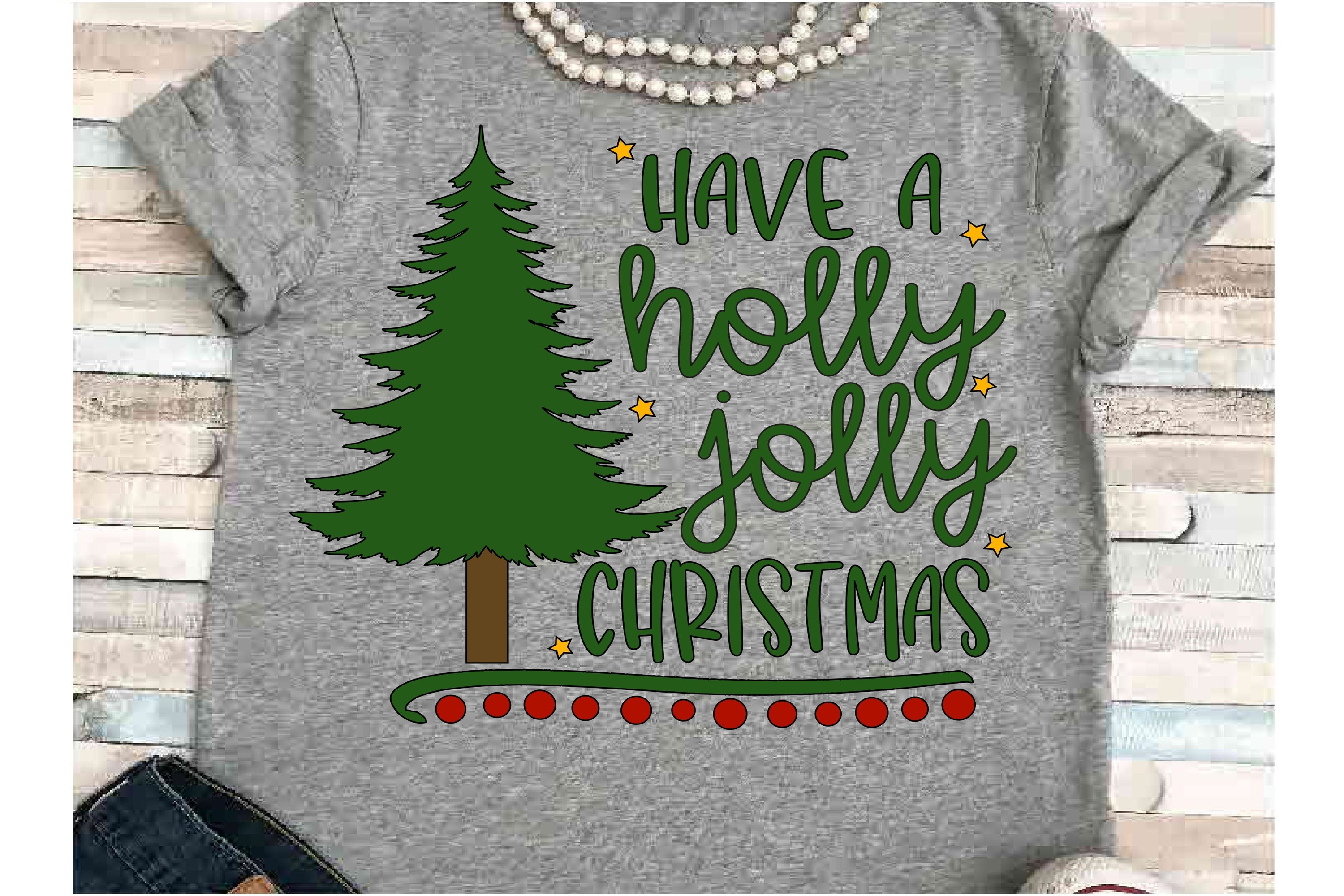 Holly SVG DXF JPEG Silhouette Cameo Cricut Jolly Christmas example image 1