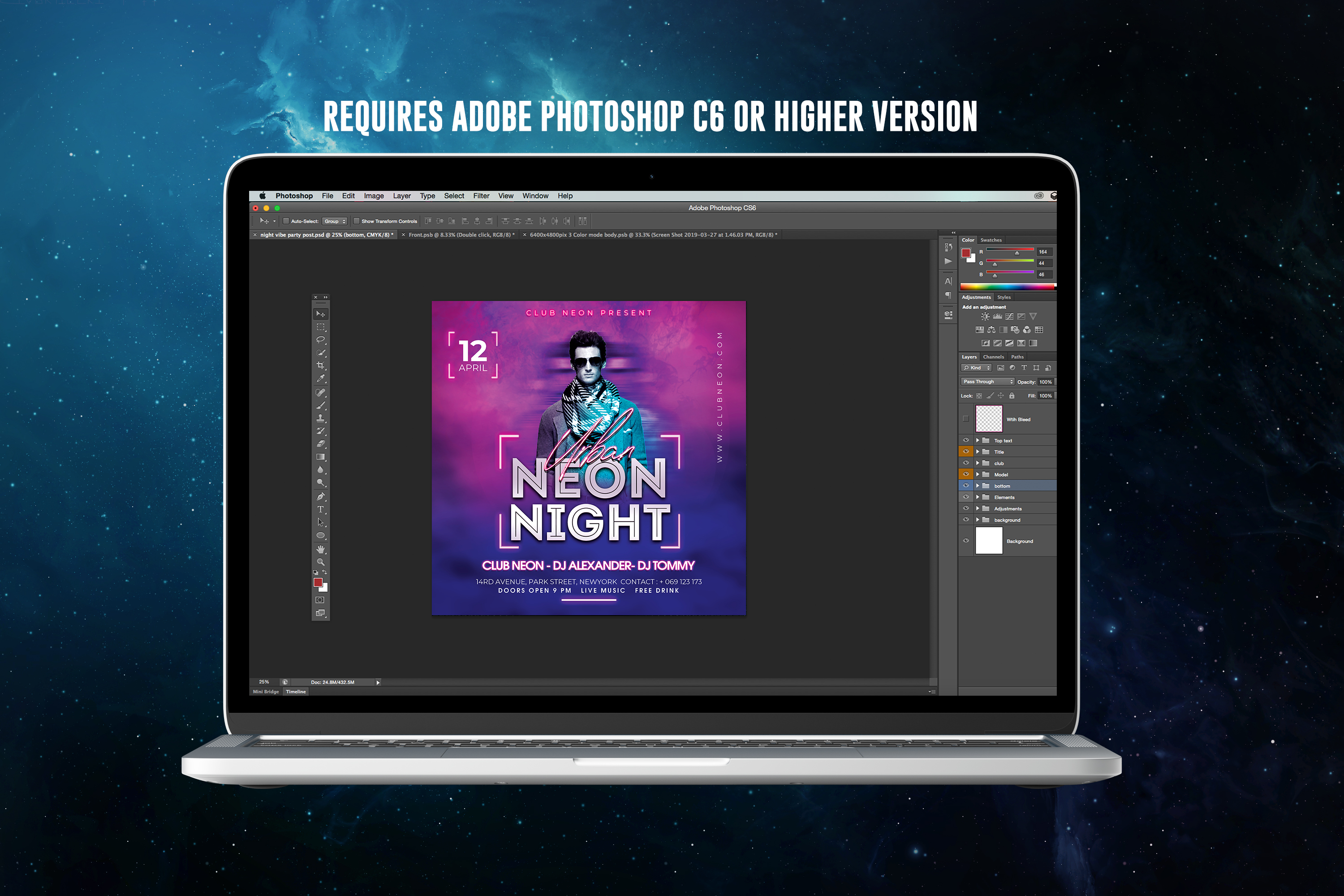 Neon Night Party Flyer Template example image 2