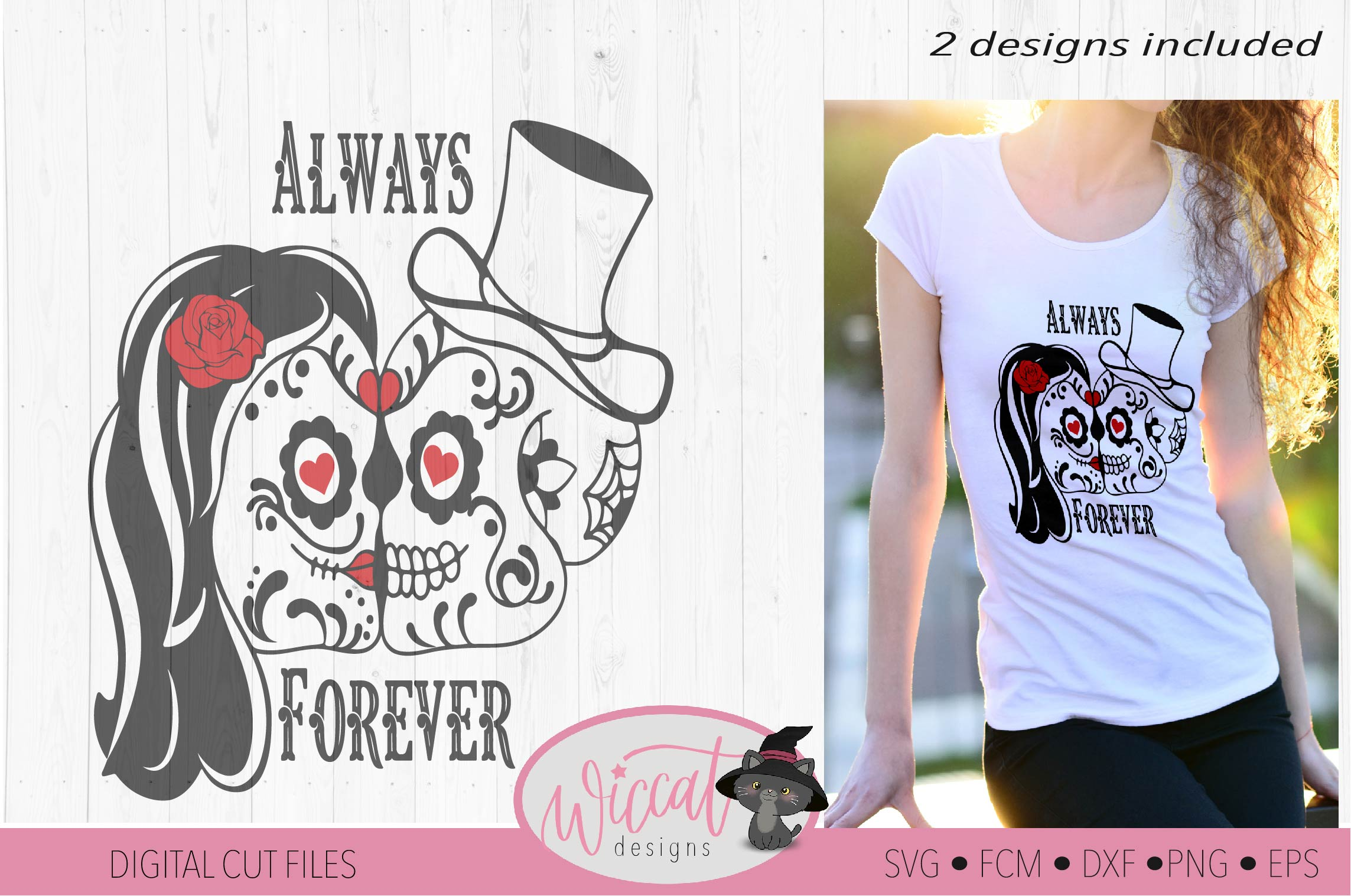 Sugar Skull valentine couple svg, forever and always example image 2