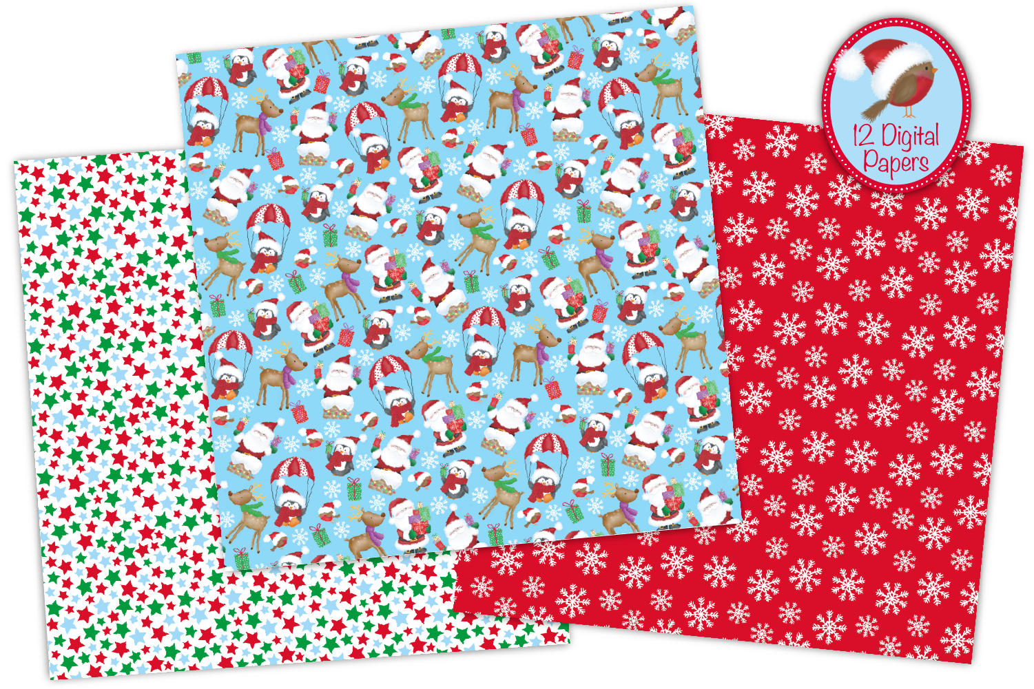 Christmas digital papers, Christmas patterns, Santa papers example image 2