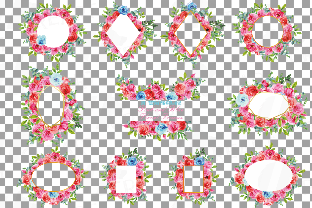 Boho pink and blue floral frames watercolor clip art pack example image 2