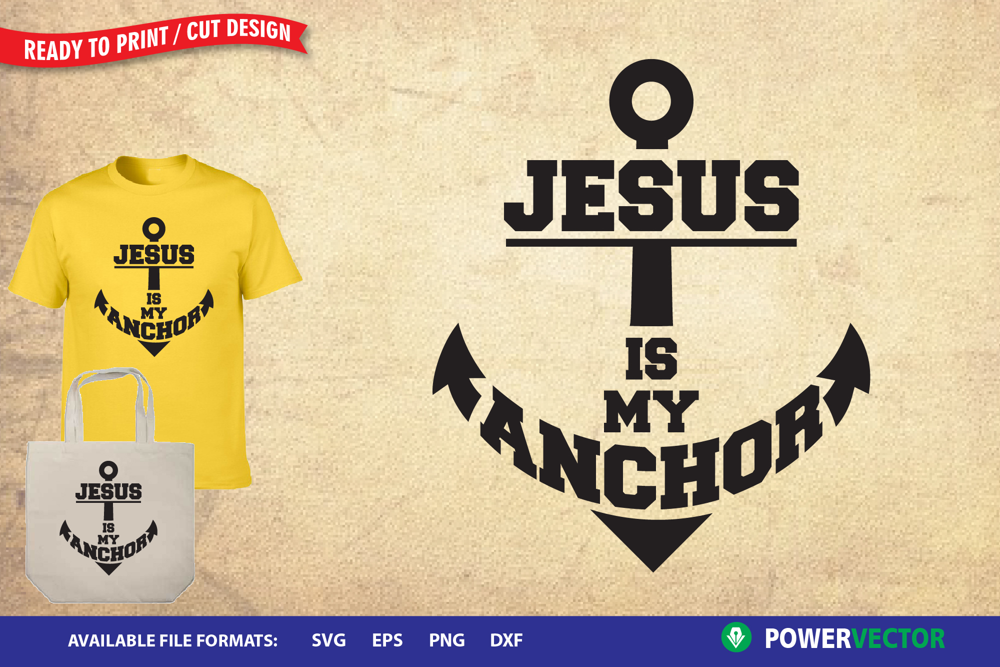 Christian SVG cut files, Jesus is my Anchor example image 1