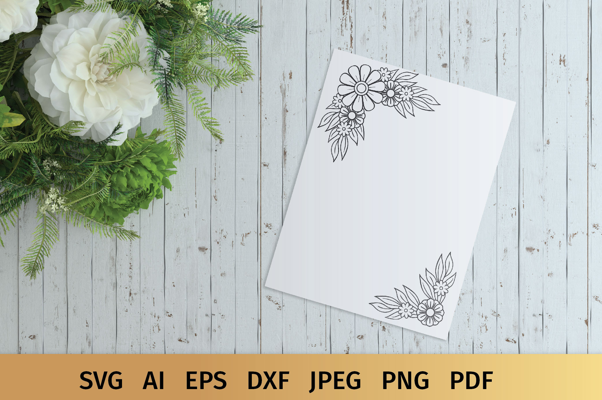 Floral Border and Corner Svg example image 6