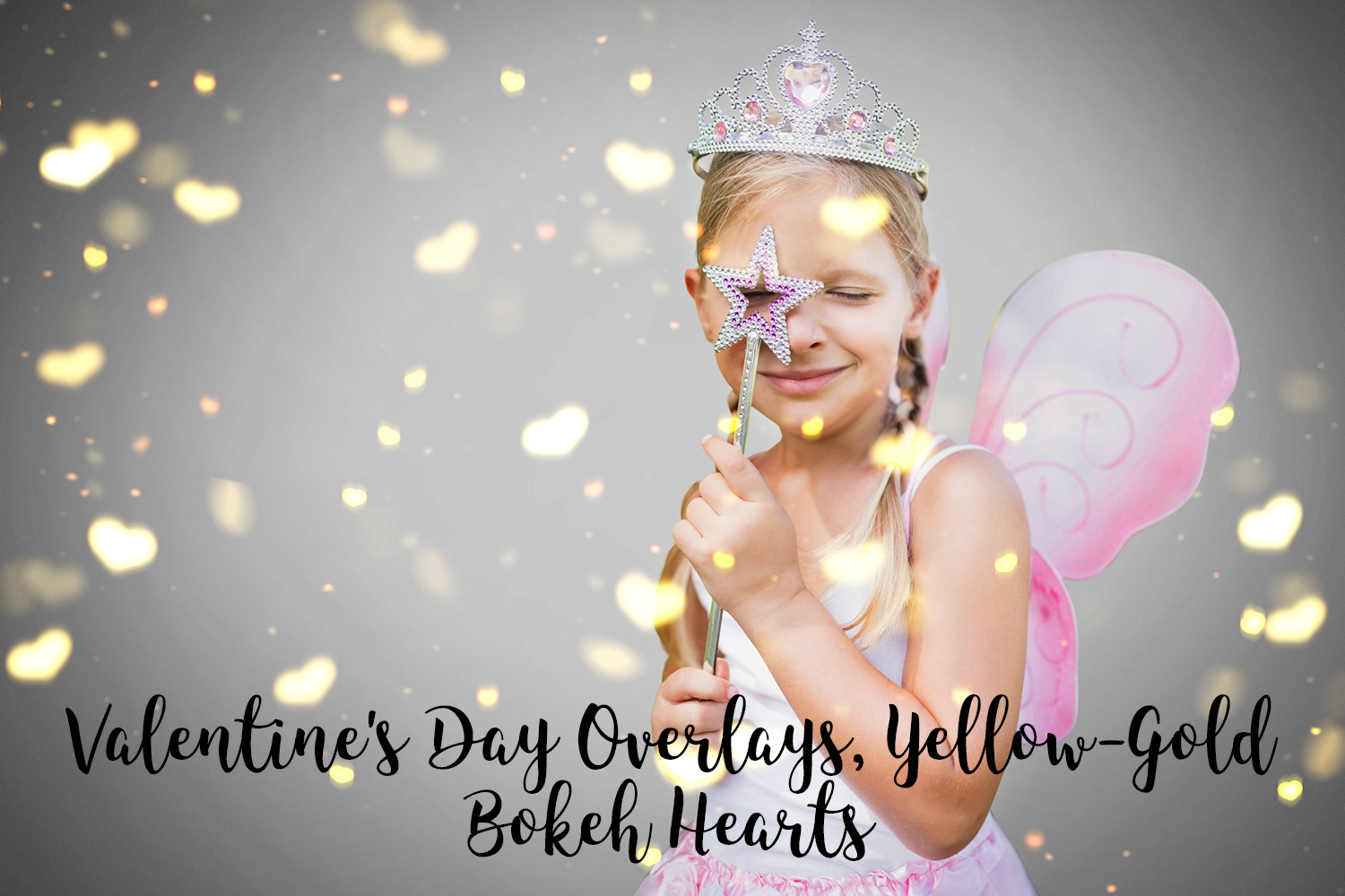 Valentine's Day Overlays, Yellow Gold Hearts Bokeh Overlays example image 1