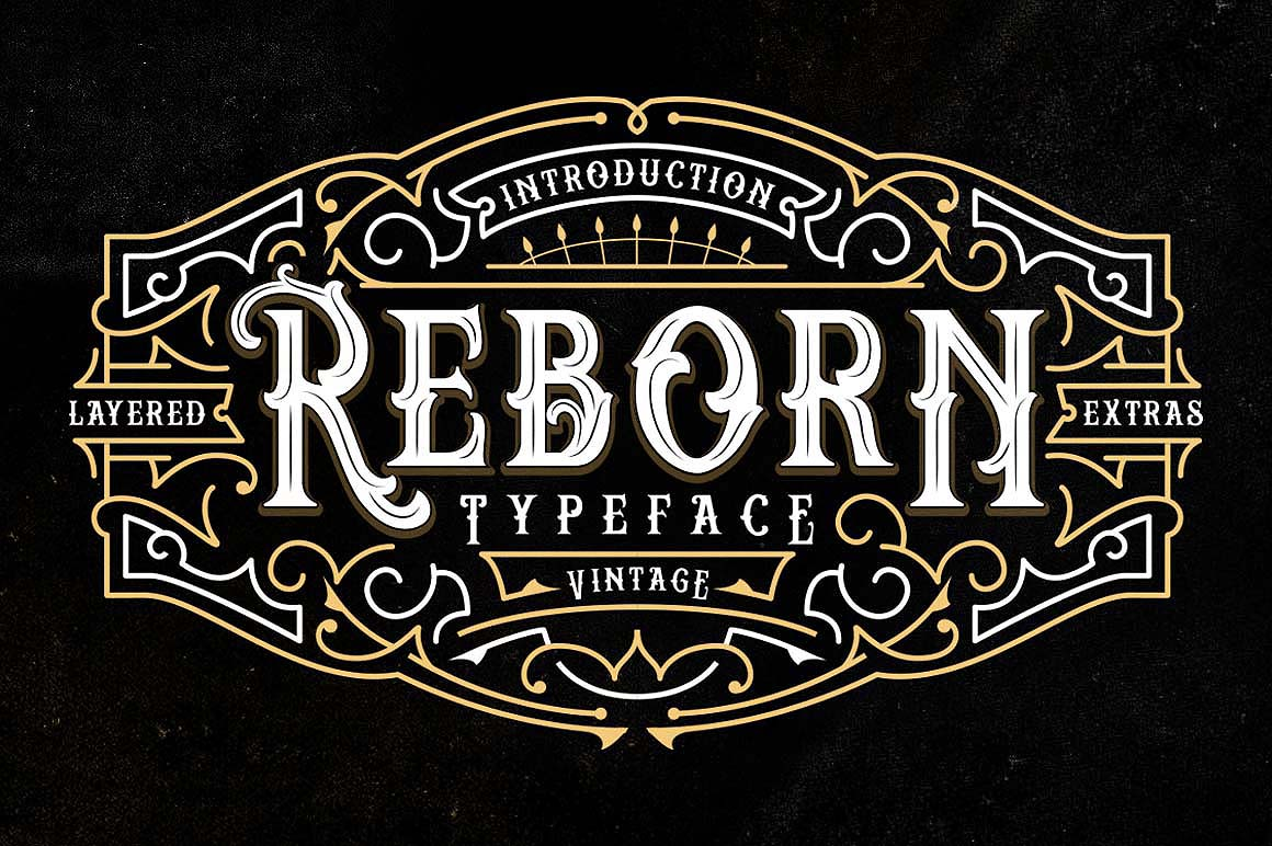 Reborn Layered Typeface + Extras example image 1
