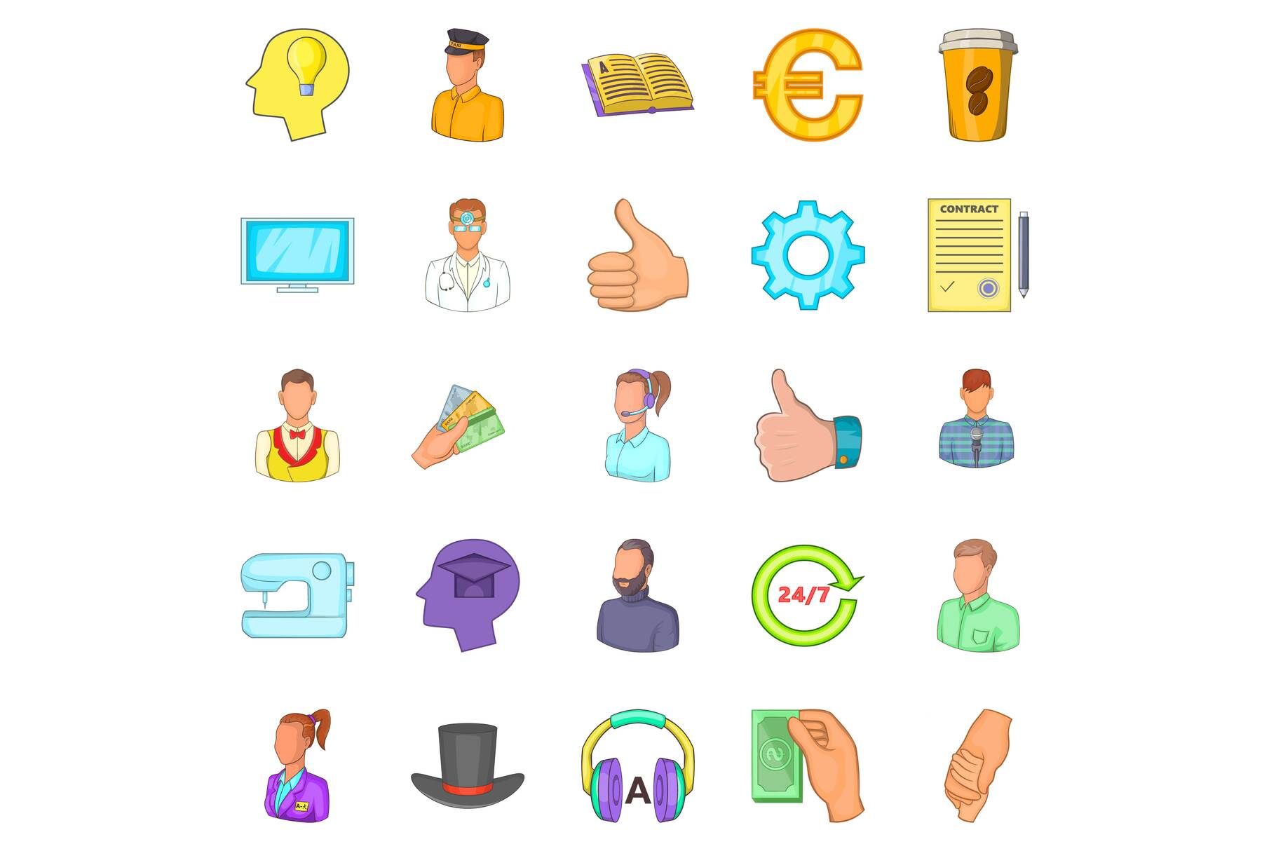 Offshore icons set, cartoon style example image 1