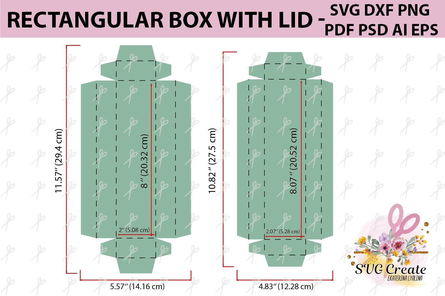 Box with lid template, box svg, pdf, favor box, box cut file example image 2