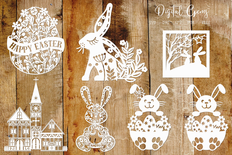 Easter / Rabbit paper cut Bundle SVG / DXF / EPS / PNG files example image 2