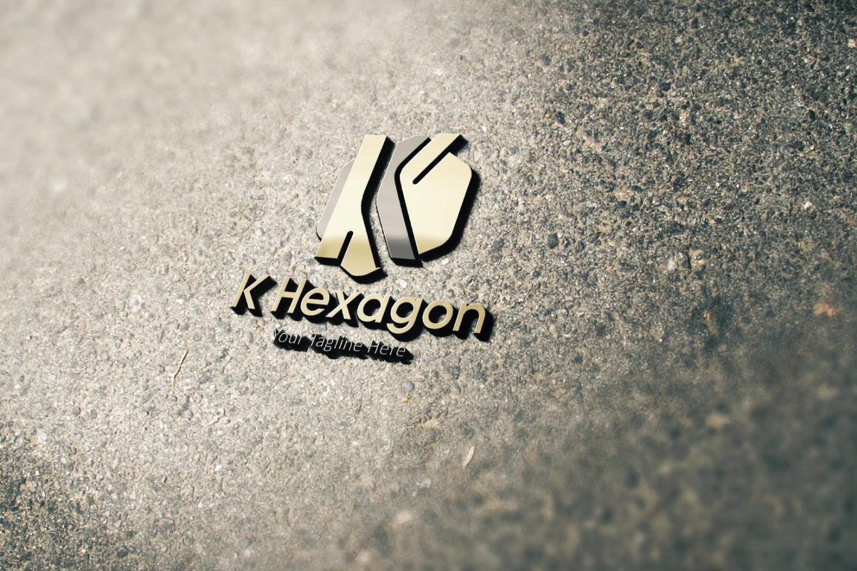 K letter hexagon logo example image 2