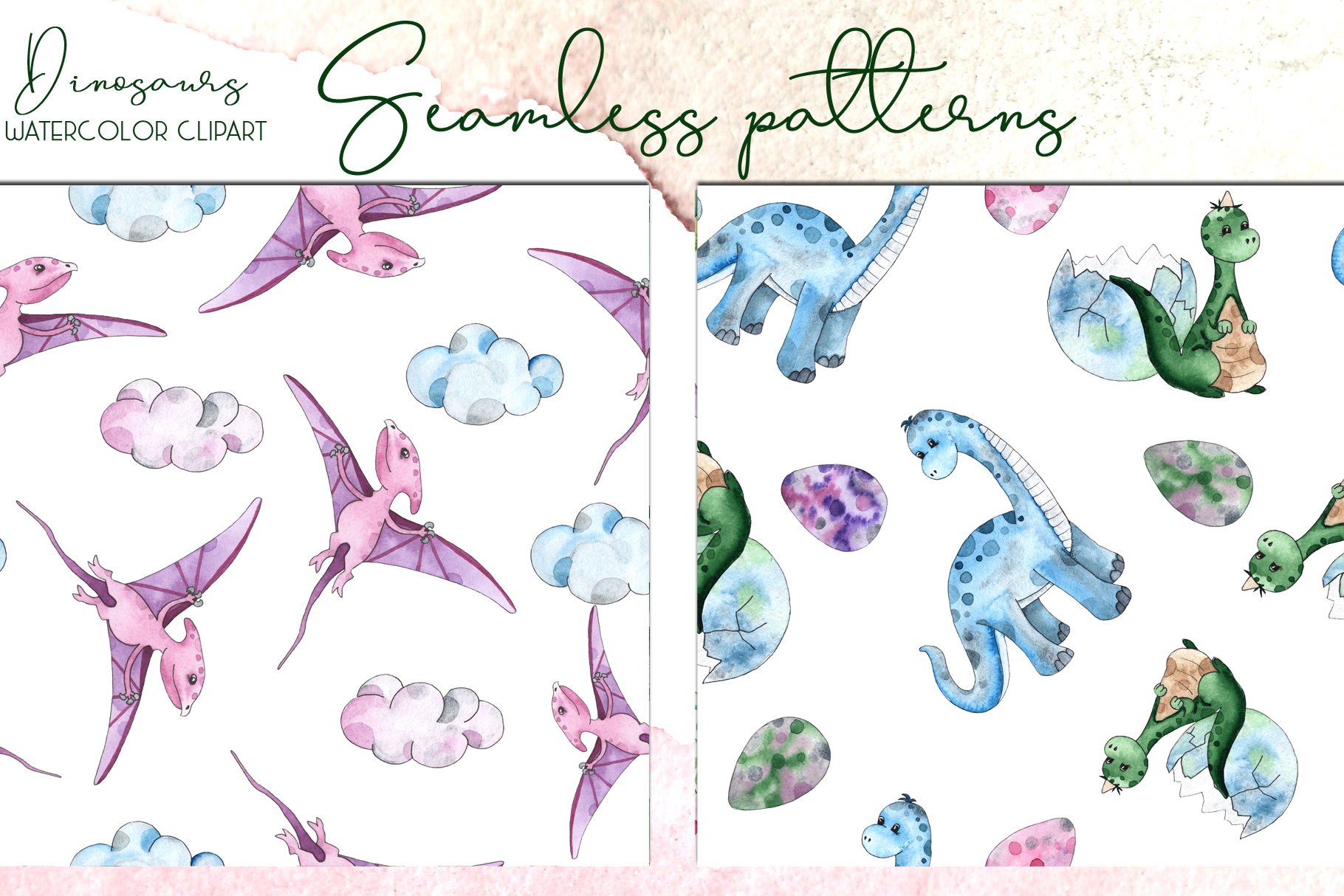 Dinosaurs. Watercolor clipart example image 12