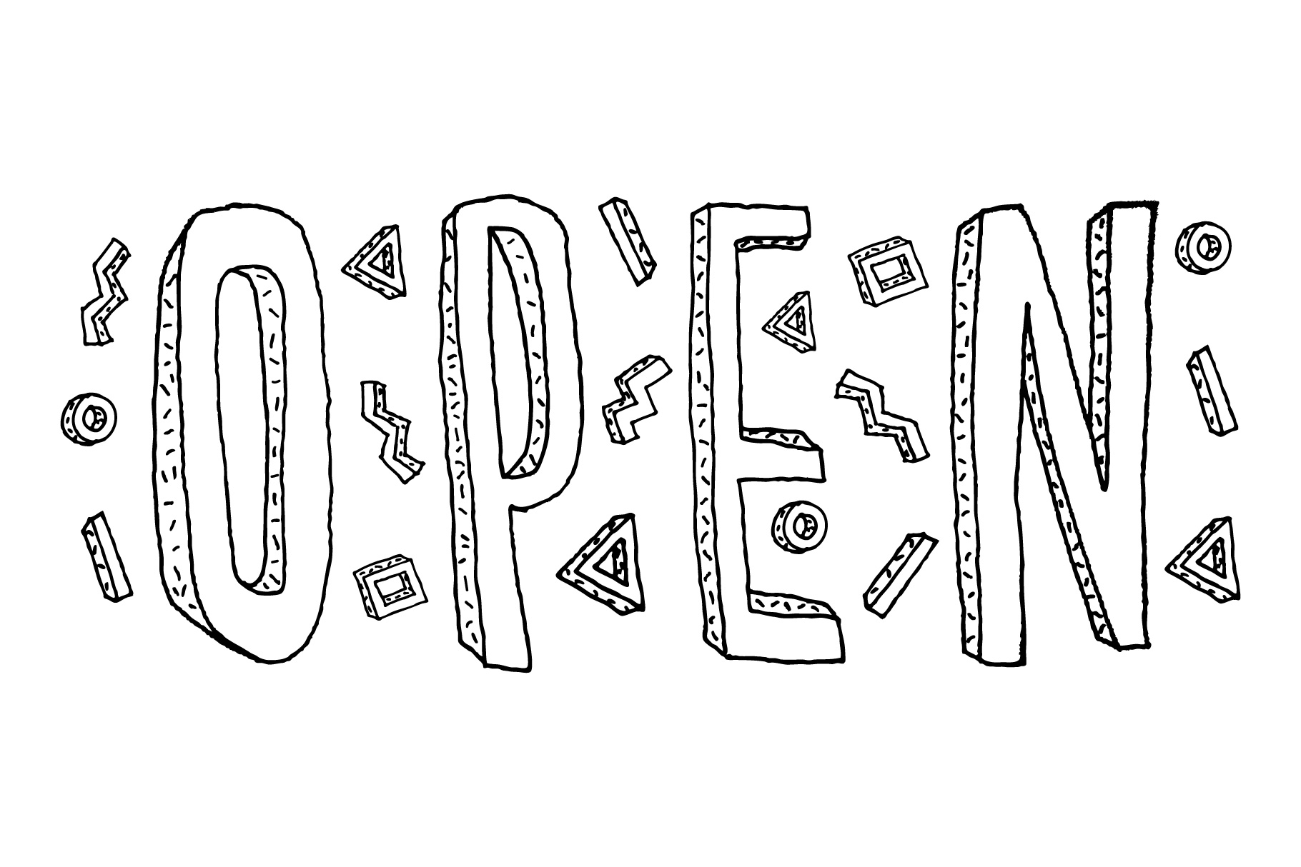 Closed and Open sign. Hand drawn doodle cartoon inscription. example image 3