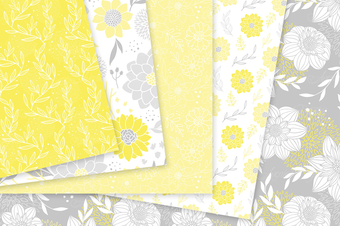 Yellow And Gray Floral Vector Patterns Light Yellow Flower
