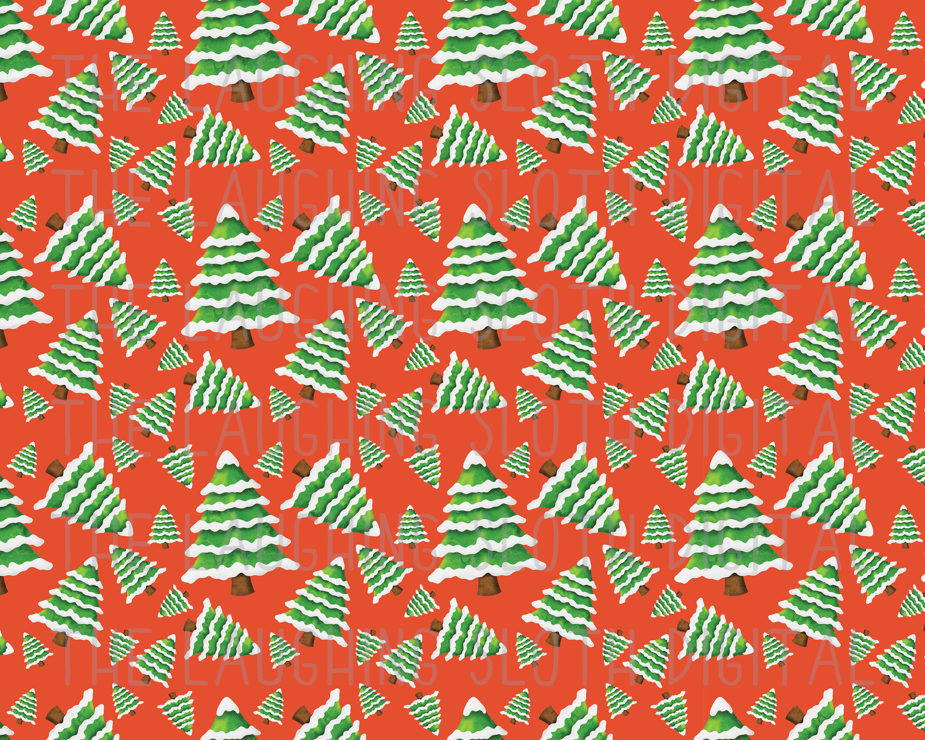 Watercolor Christmas Seamless Digital Papers Set 2 example image 2