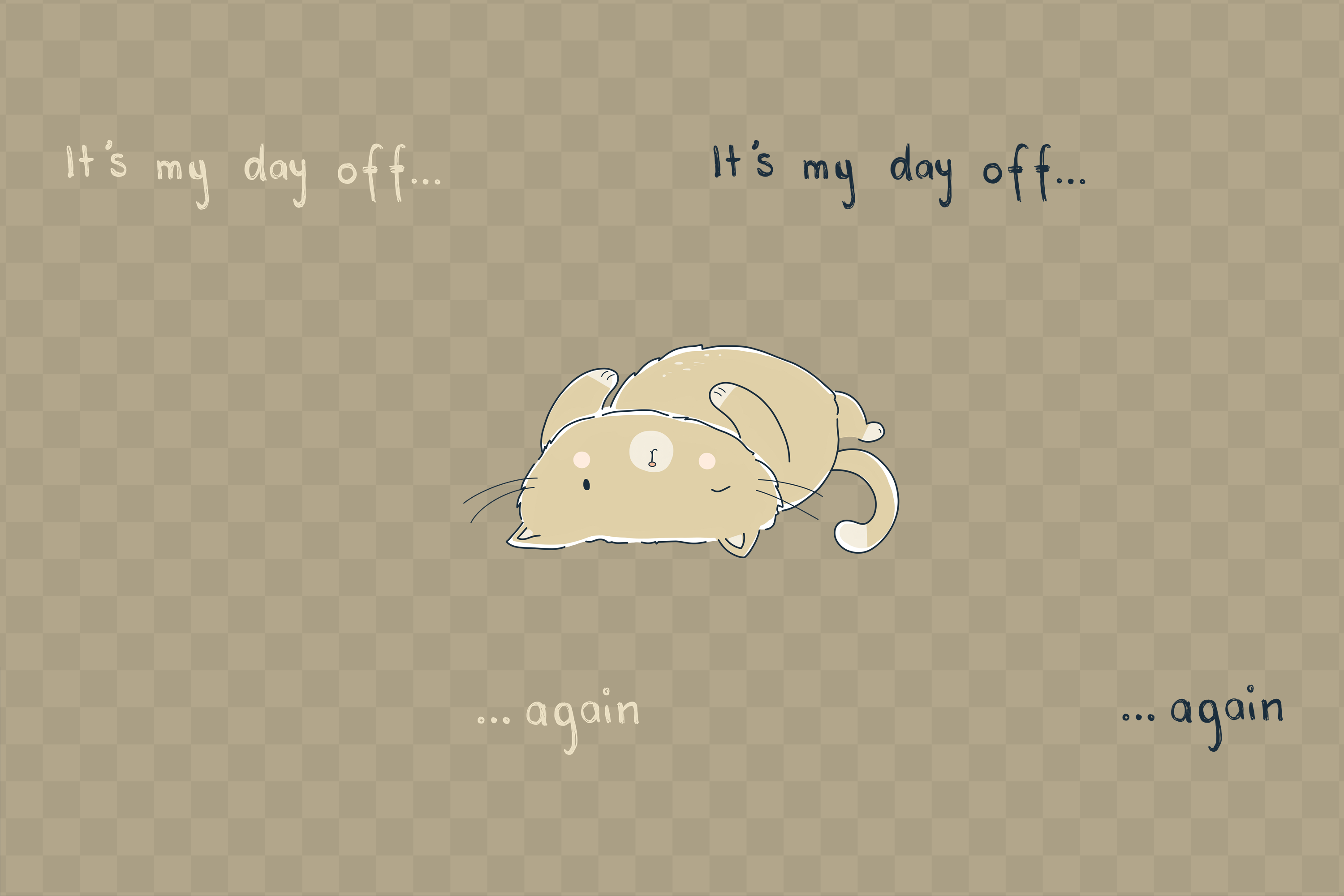Day Off Cat | Clip Art Illustration | PNG/JPEG example image 4