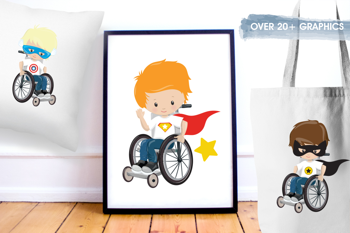 Kids in wheelchair graphic and illustrations example image 5