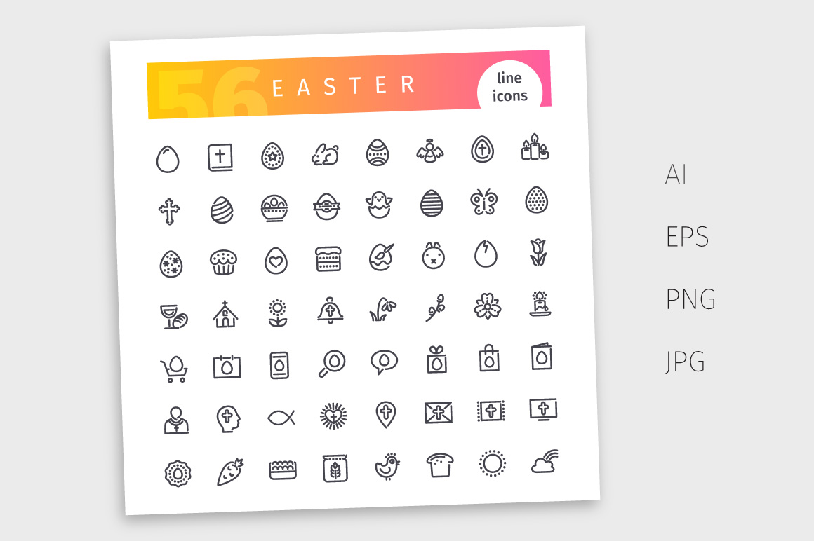 Easter Line Icons Set example image 4