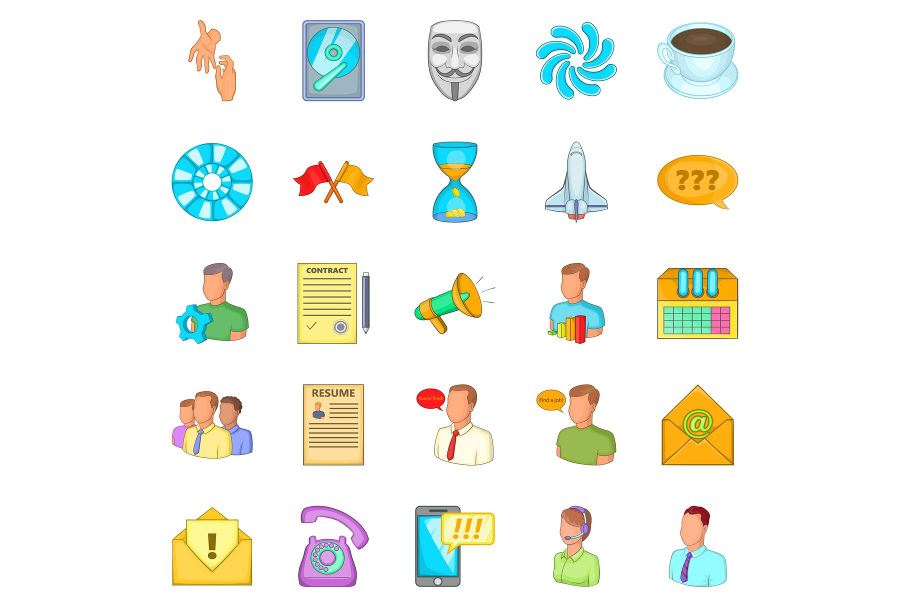 Business direction icons set, cartoon style example image 1