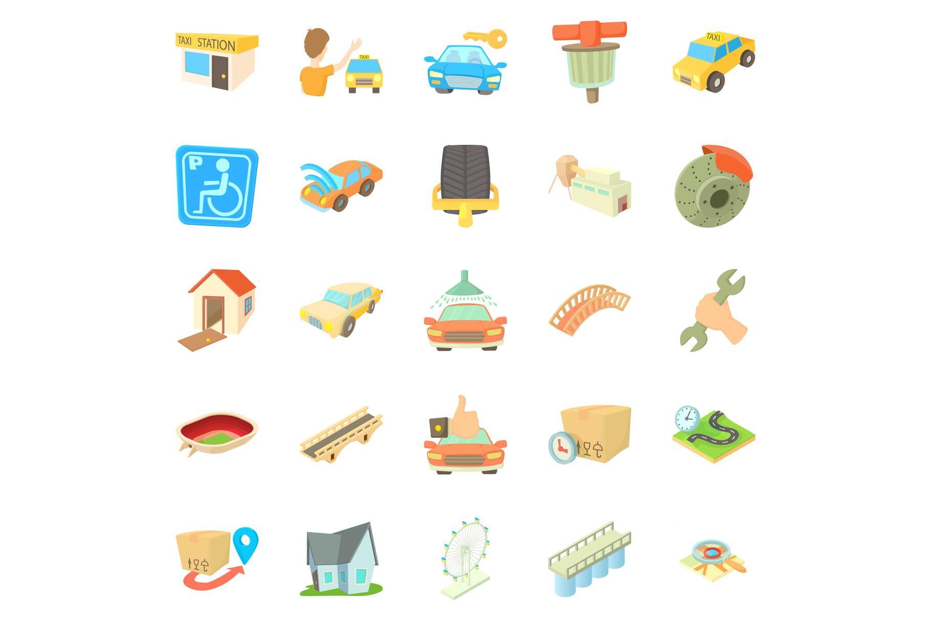 City elements icons set, cartoon style example image 1