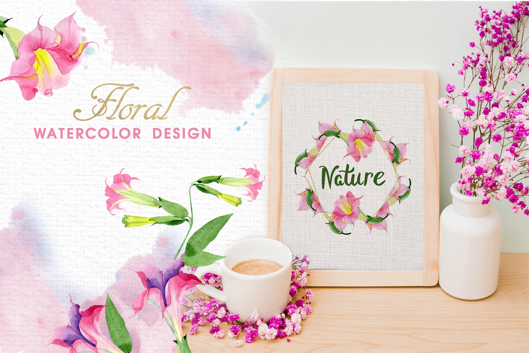 Pink Brugmansia Watercolor png example image 2
