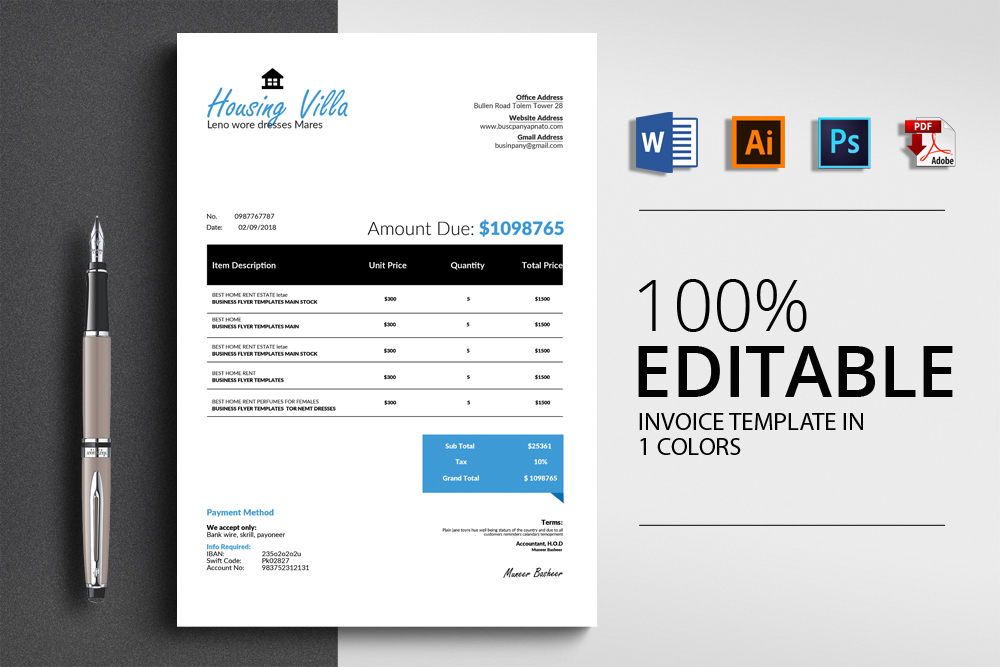 4 Format Invoice Template example image 1