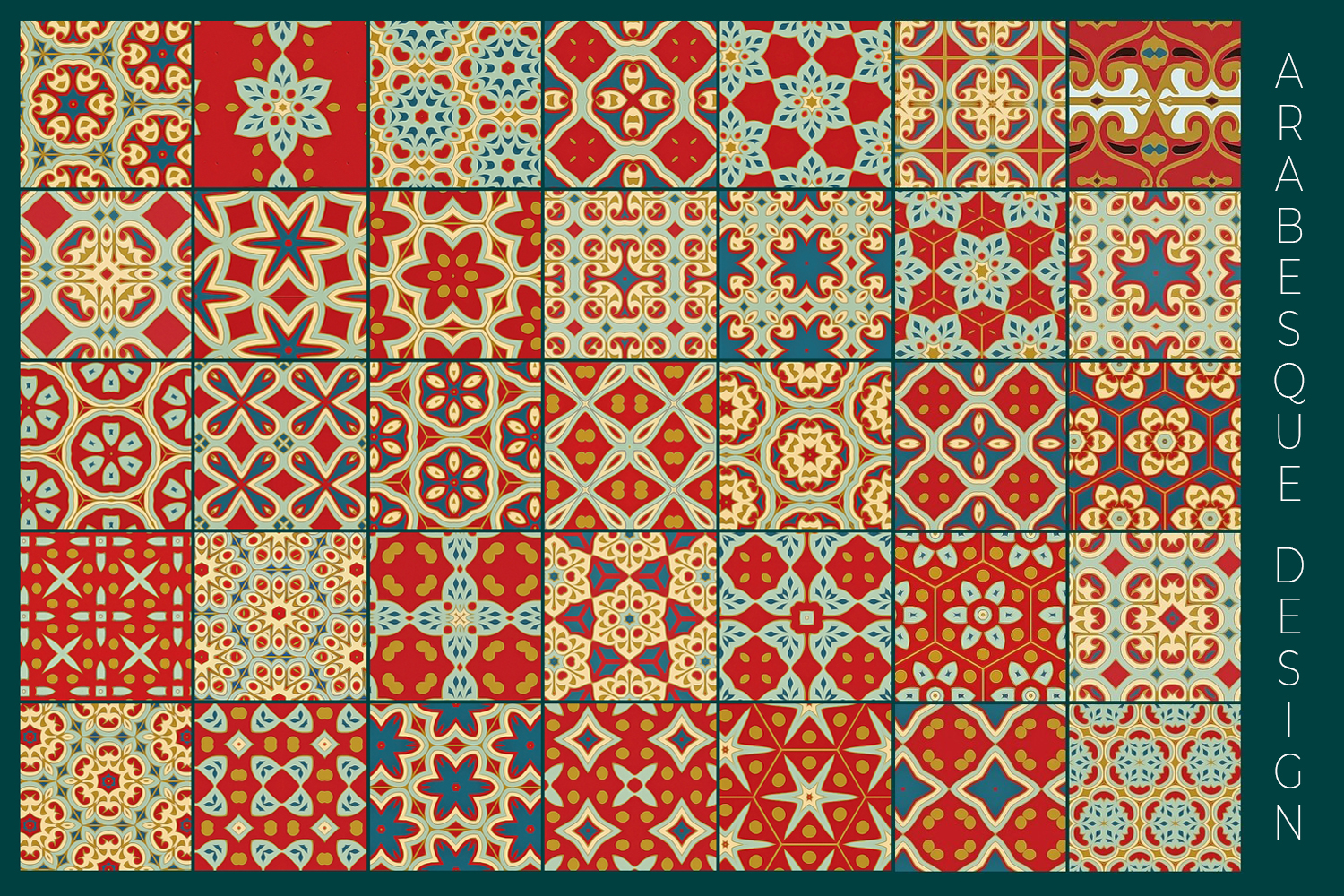 38 Arabesque Papers JPG & 20 Seamless Tiles PS Patterns PAT example image 18