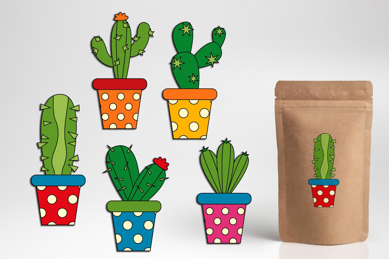 Succulent cactus clip art illustrations bundle example image 4