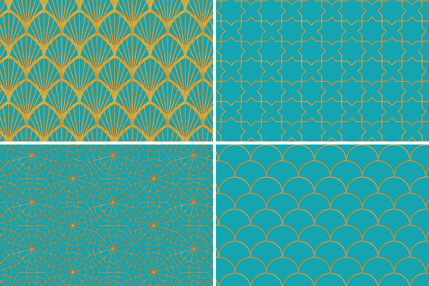 8 Seamless Moroccan Patterns - Gold & Turquoise example image 6
