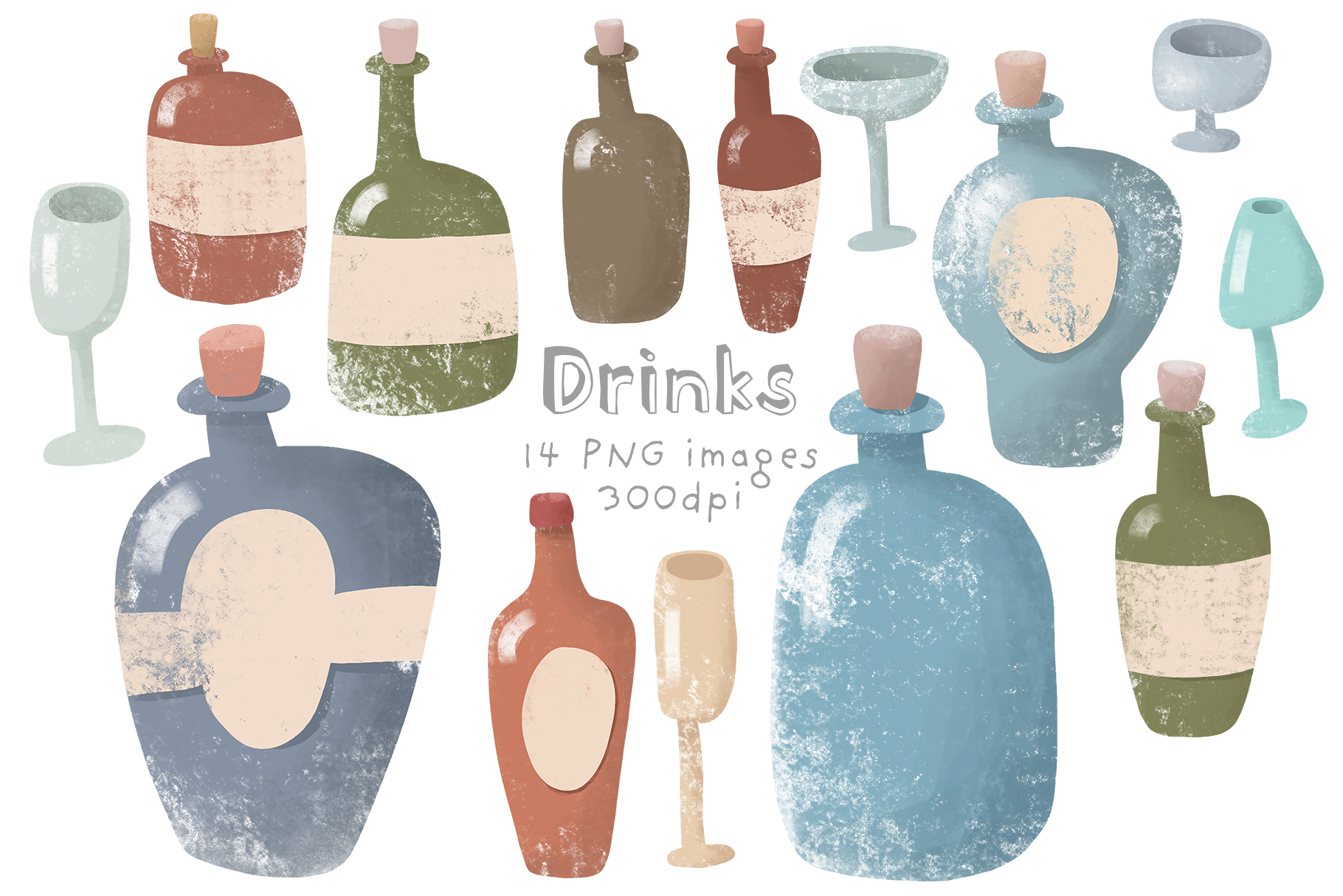 Set of glass bottles example image 1