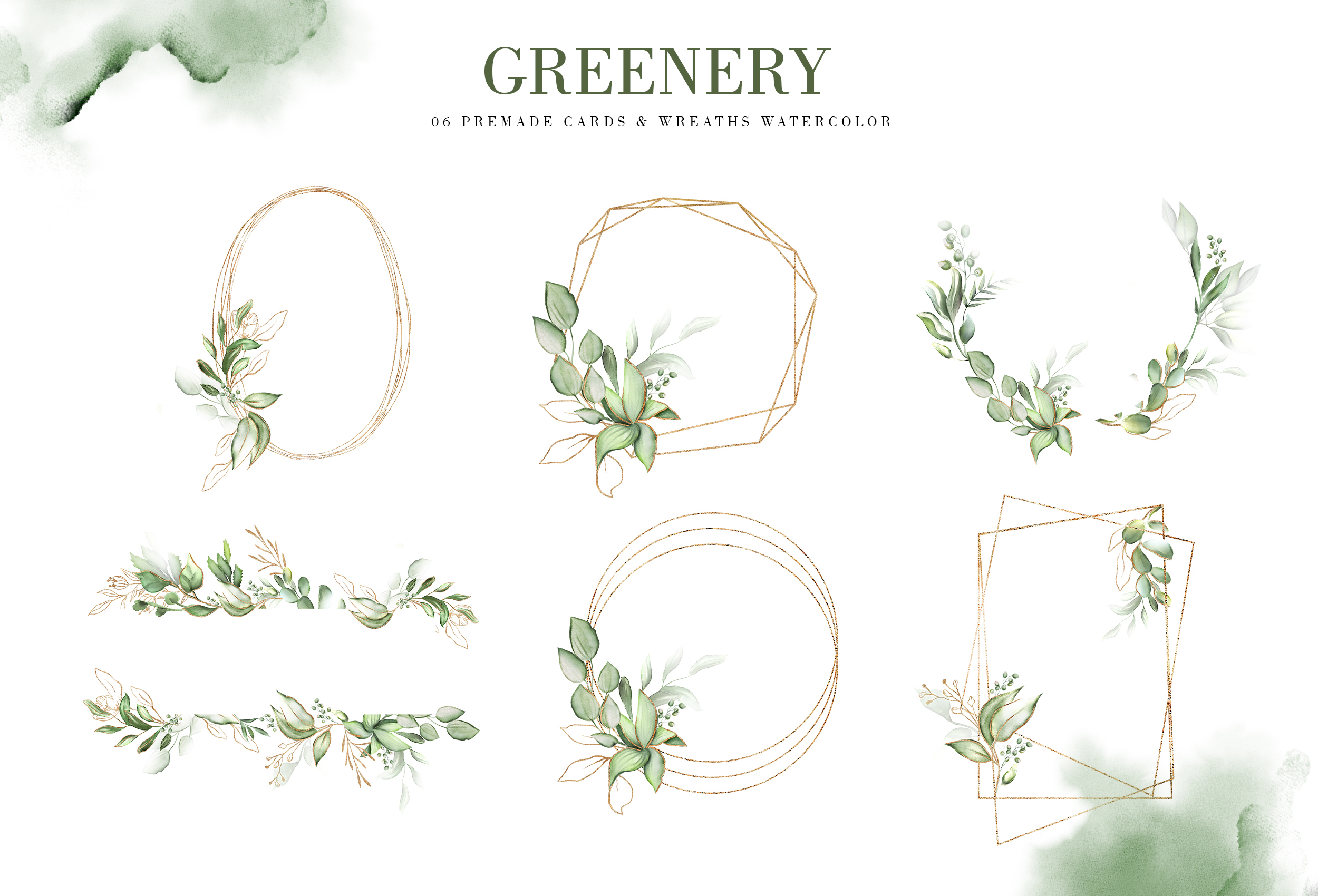 Greenery. Watercolor Elements| Letters gold with flowers example image 5