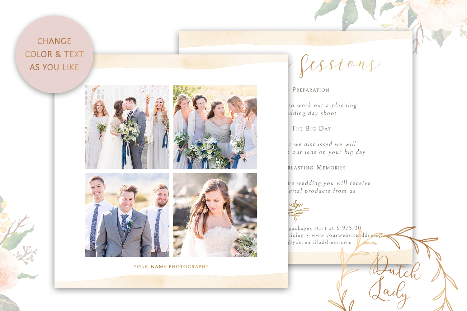 PSD Wedding Photo Session Advertising Card Template #4 example image 4