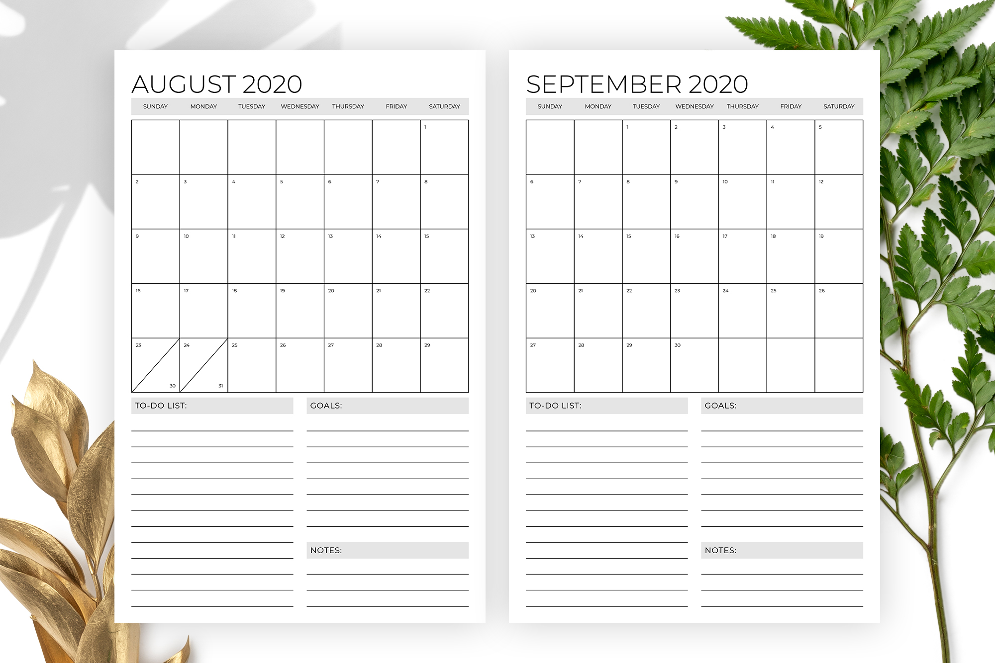 Vertical 11 x 17 Inch 2020 Calendar Template example image 5