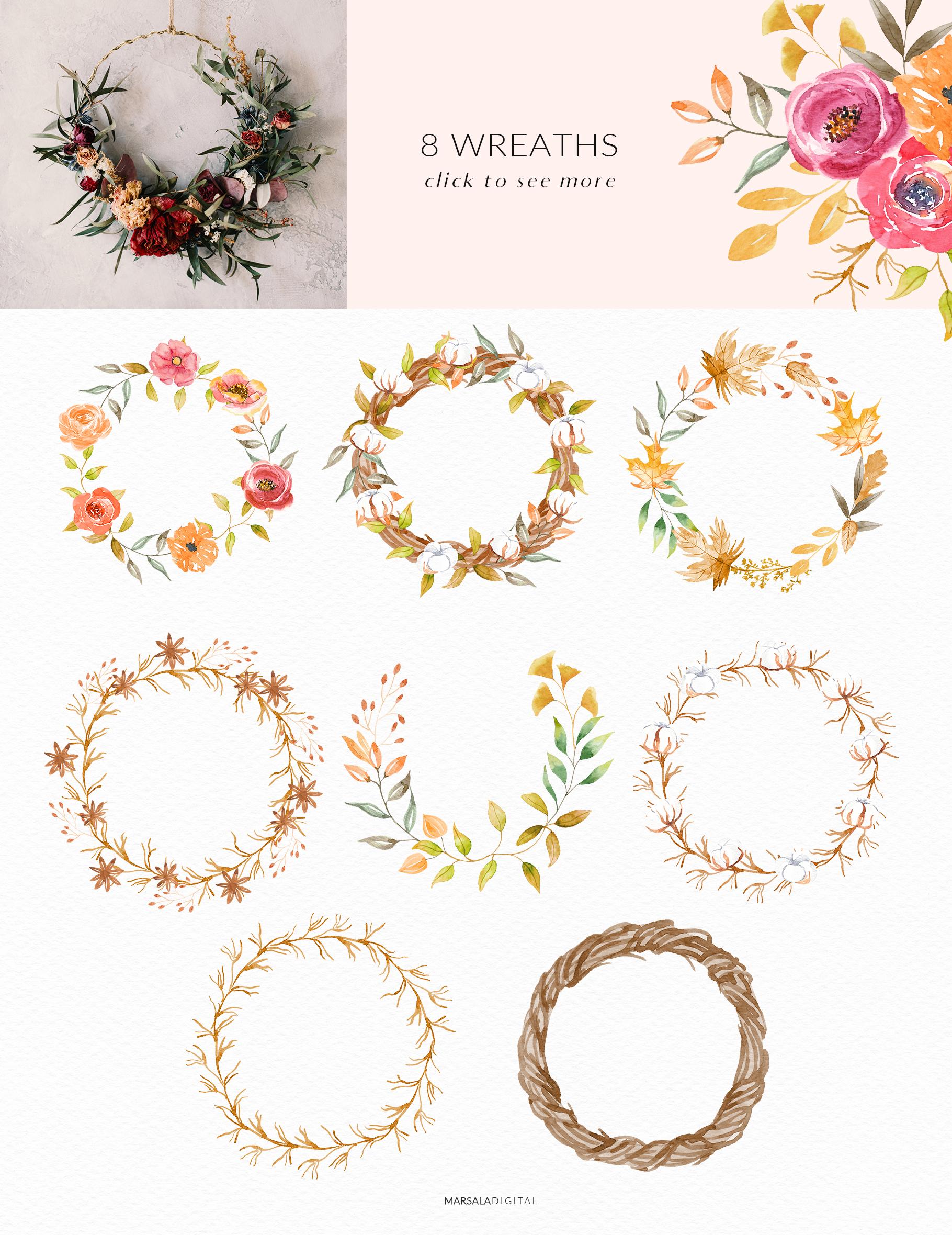 Autumn Watercolor Collection Pumpkins Arrangements example image 5