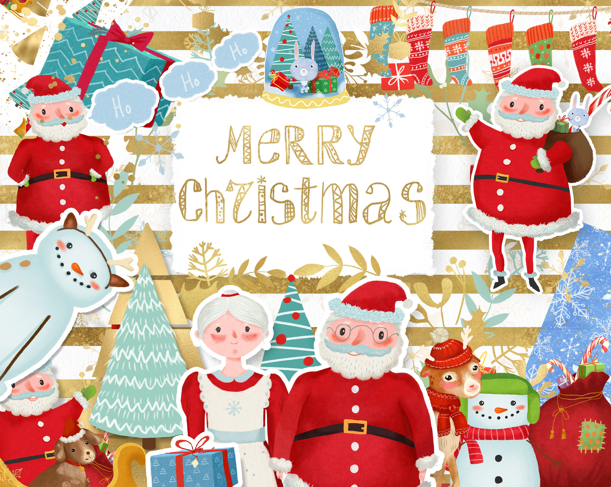 Merry Christmas clipart pack with Santa and digital paper example image 11