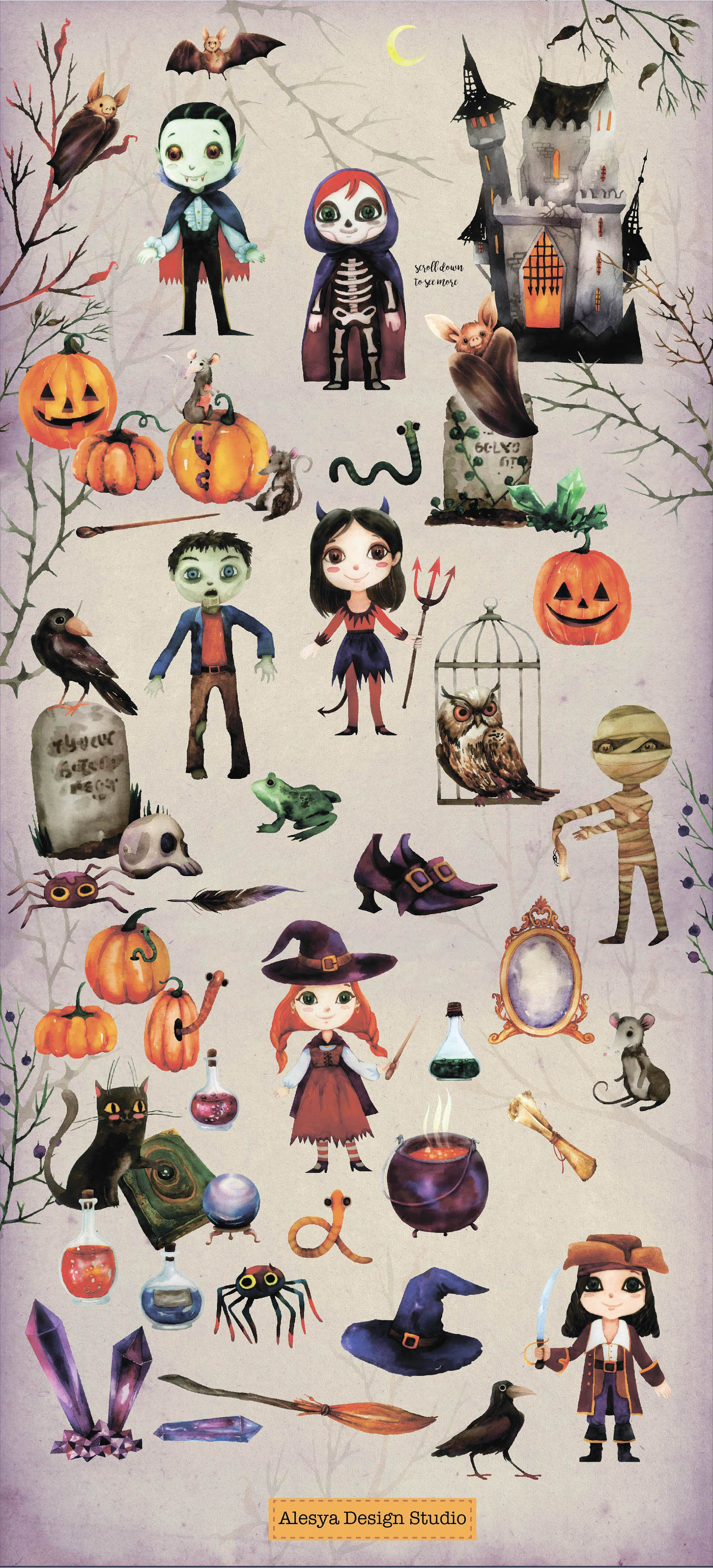 Halloween Night. Watercolor halloween characters. example image 2