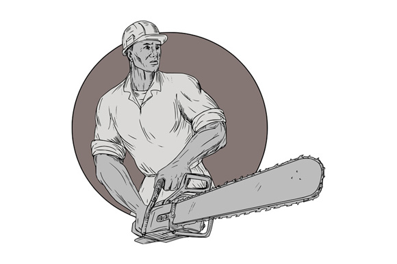 Lumberjack Arborist Holding Chainsaw Oval Drawing example image 1