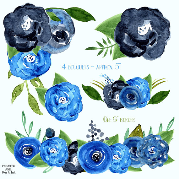 Indigo Blue Watercolor Flowers Navy Dark Watecolor Florals