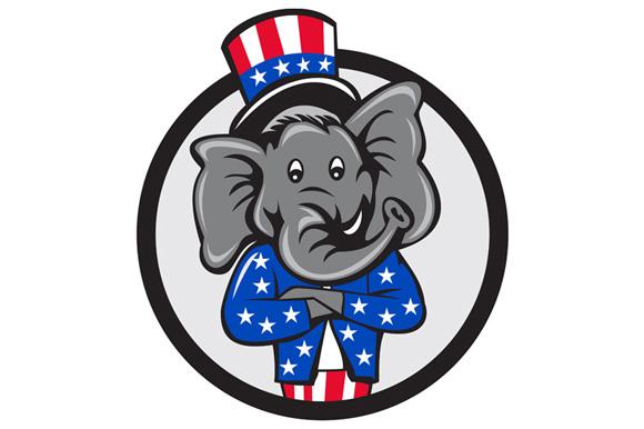 Republican Elephant Mascot Arms Crossed Circle Cartoon example image 1