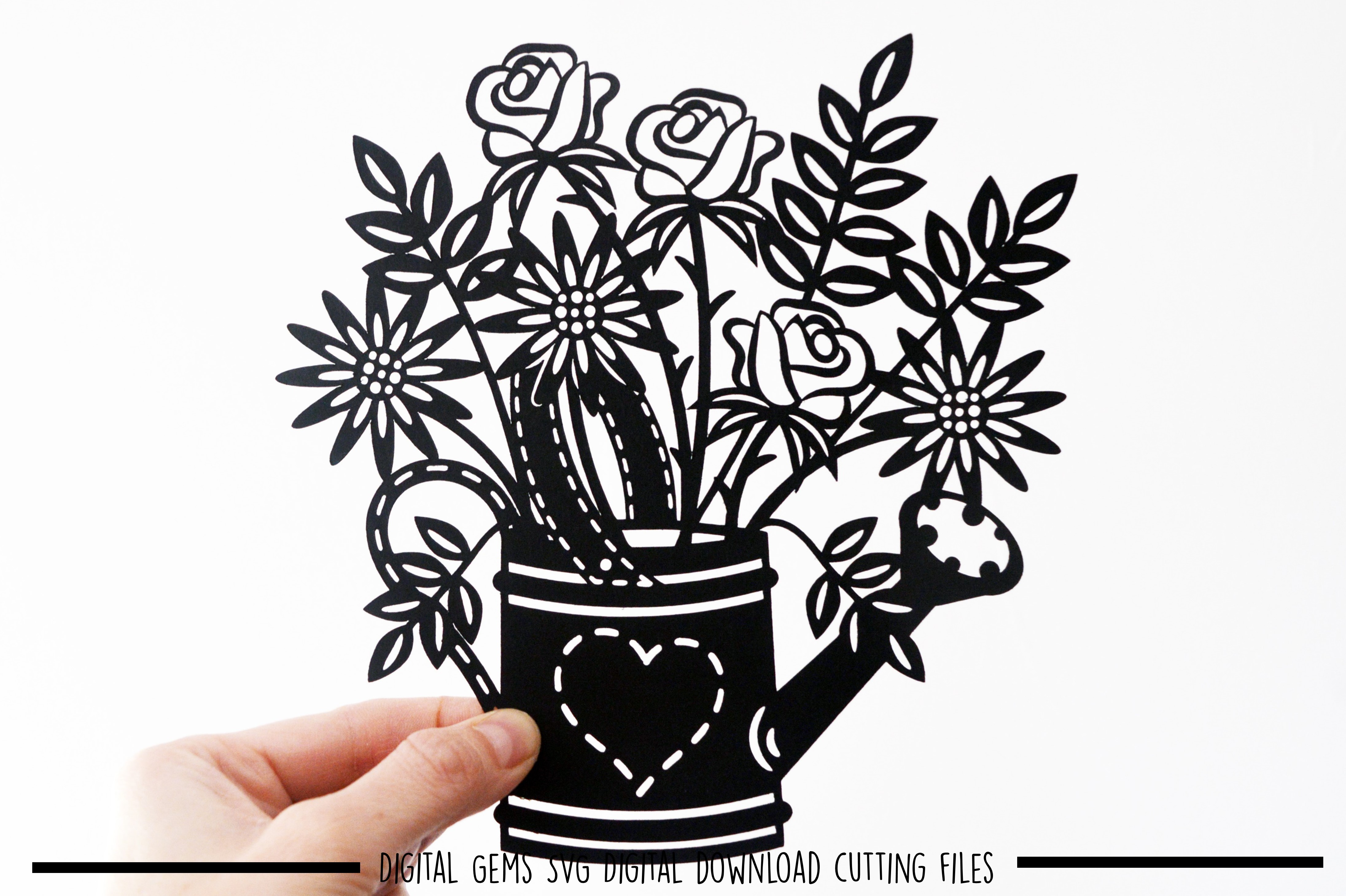 Watering can paper cut SVG / DXF / EPS files example image 5